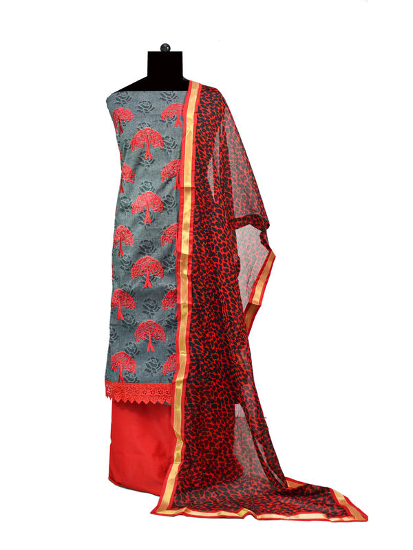 Grey Red Cotton Embroidered Suit With Golden Patti Dupatta