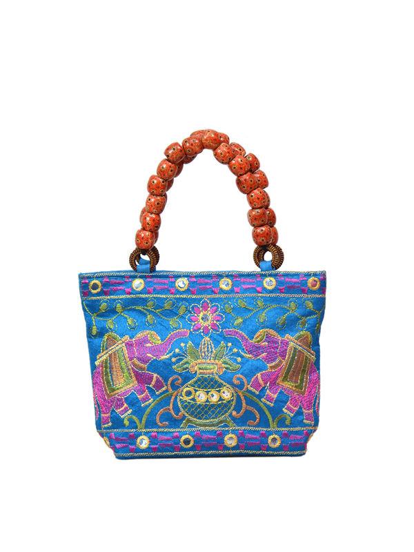 Handicraft Ethnic Embroidered Blue Clutch