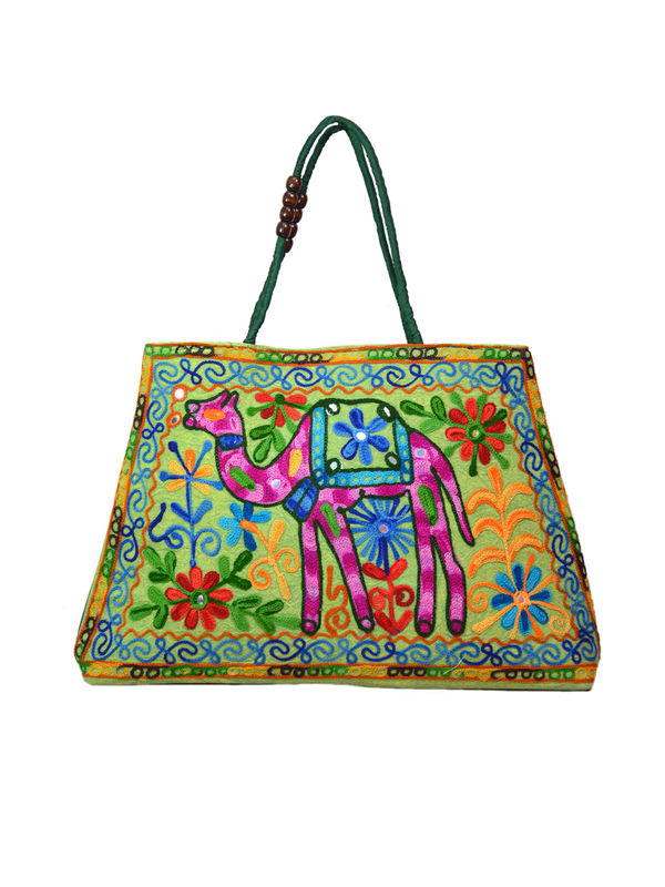 Handicraft Ethnic Embroidered Green Handbag