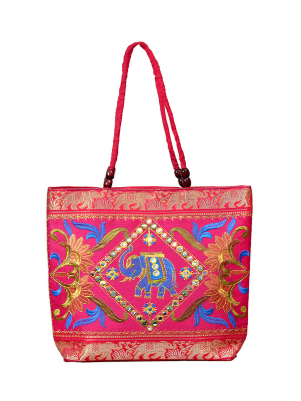 Handicraft Ethnic Embroidered Magenta Blue Handbag