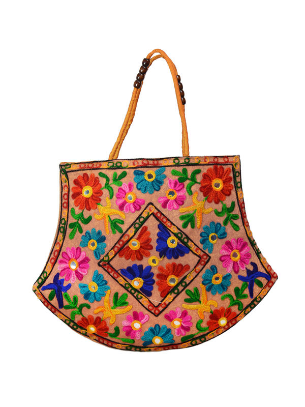 Handicraft Ethnic Embroidered Mustard Handbag