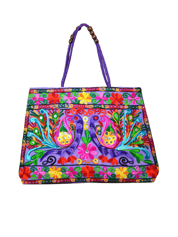Handicraft Ethnic Embroidered Purple Handbag