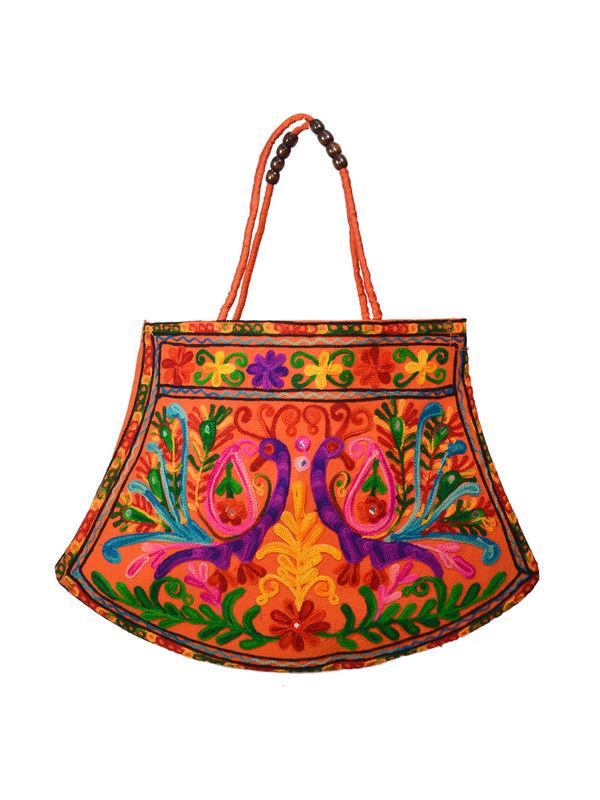 Handicraft Ethnic Embroidered Rust Handbag