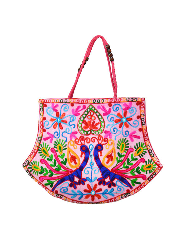 Handicraft Ethnic Peacock Embroidered-Magenta Handbag