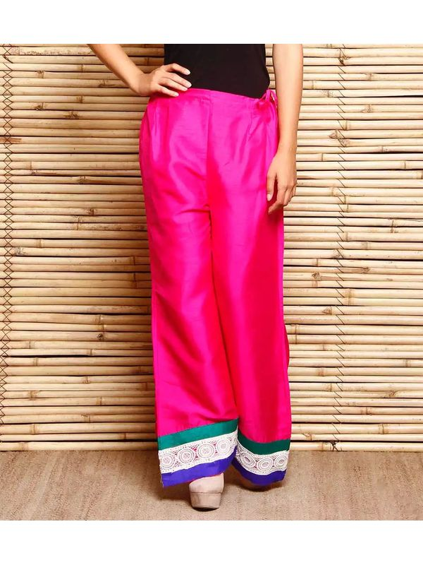 Magenta Art Silk Palazzo With Cotton Lace Hem