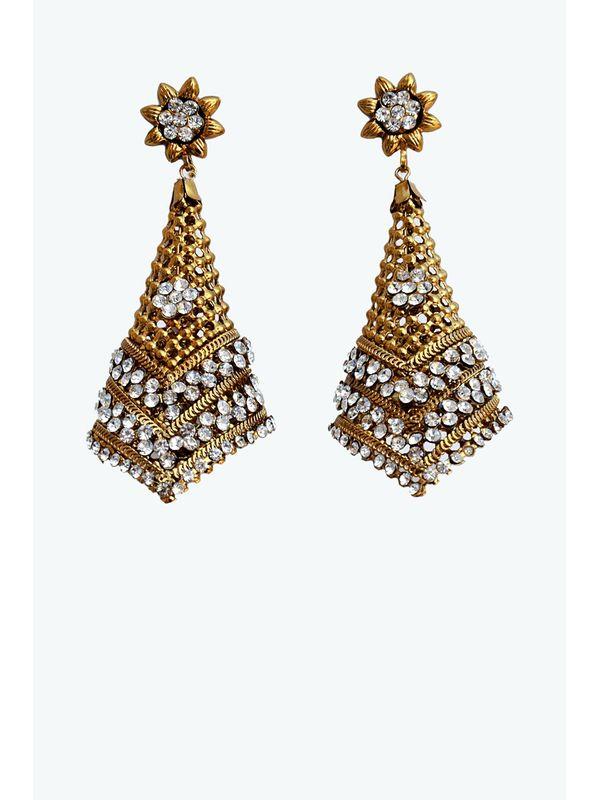 Kashmiri Kraft Work Golden Bronze Danglers