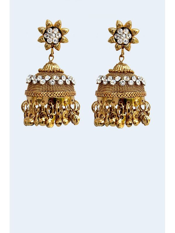 Kashmiri Traditional Golden Bronze Danglers
