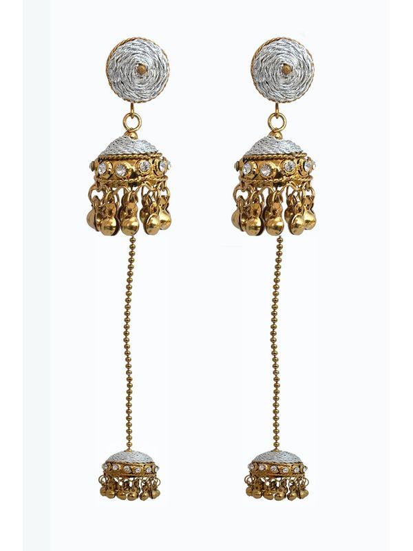 Kashmiri Traditional Golden White Bronze Danglers