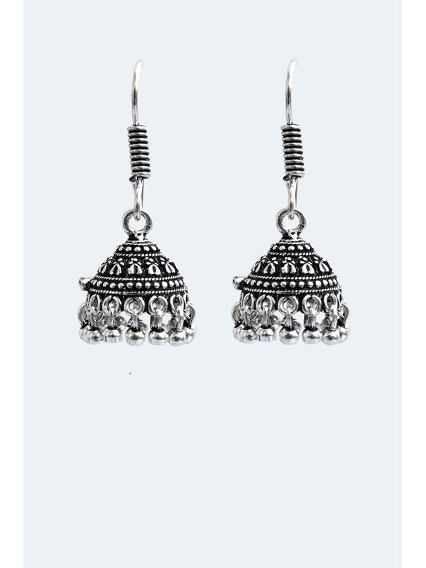 Oxidised Silver Ethnic Jumkis with Silver Pearls