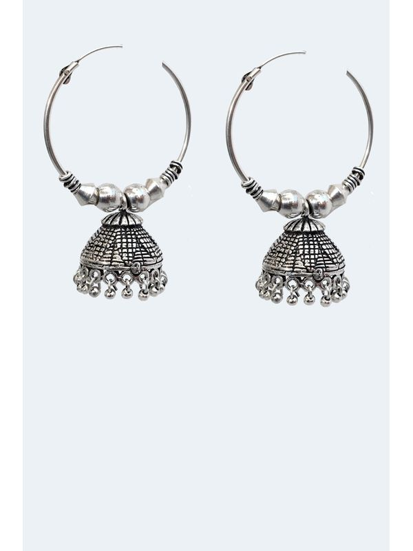 Oxidised Long Silver Ethnic Jumkis