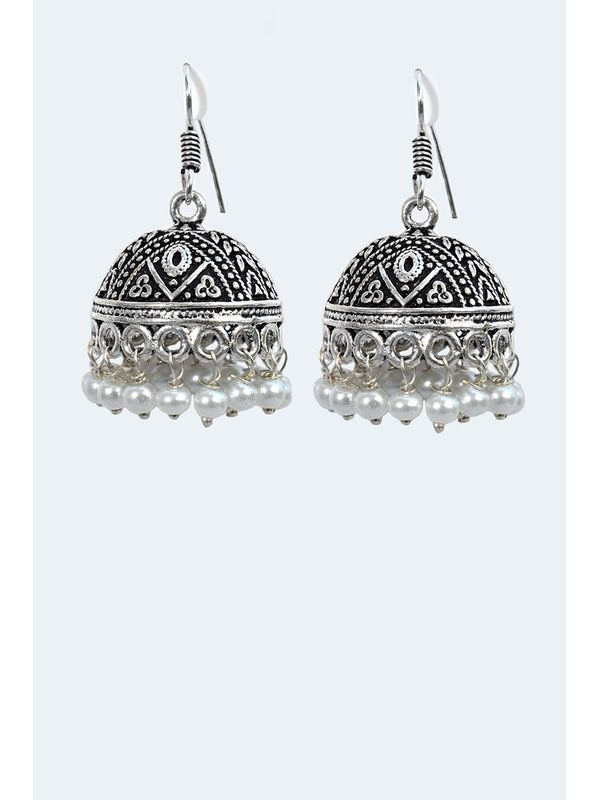 Big Ethnic Jhumkas in Silver Alloy with White Pearls