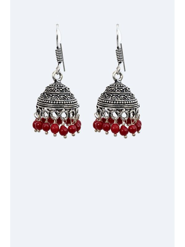 Oxidised Silver Ethnic Jumkis with Red Pearls