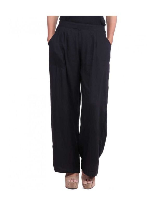 Black Straight Solid Palazzo Pants
