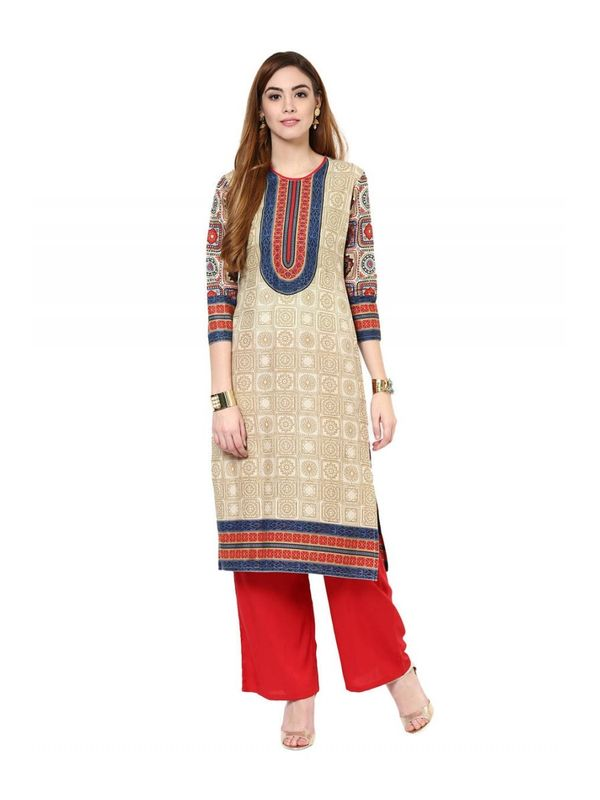 Beige Color Cotton Kurta Set  With Red Rayon Palazzo