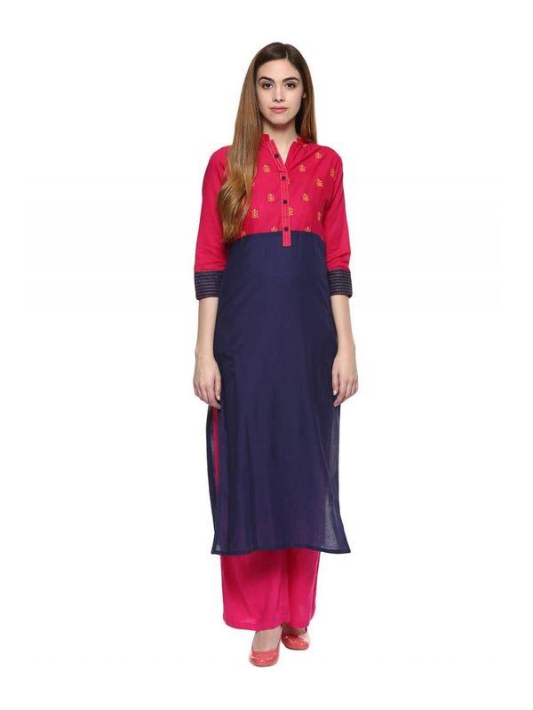 Red Blue Cotton Kurta