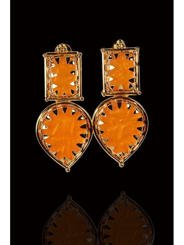 Orange Alloy Danglers And Drop