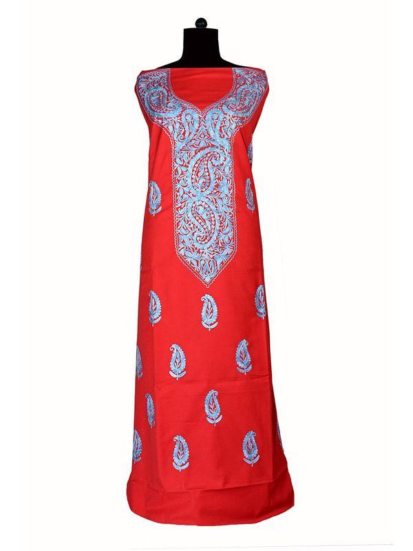 Kashmiri Red Paisley Aari Work Woolen Suit