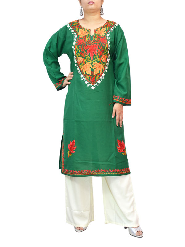 Kashmiri Cotton Green Chinar Embroidered Kurti