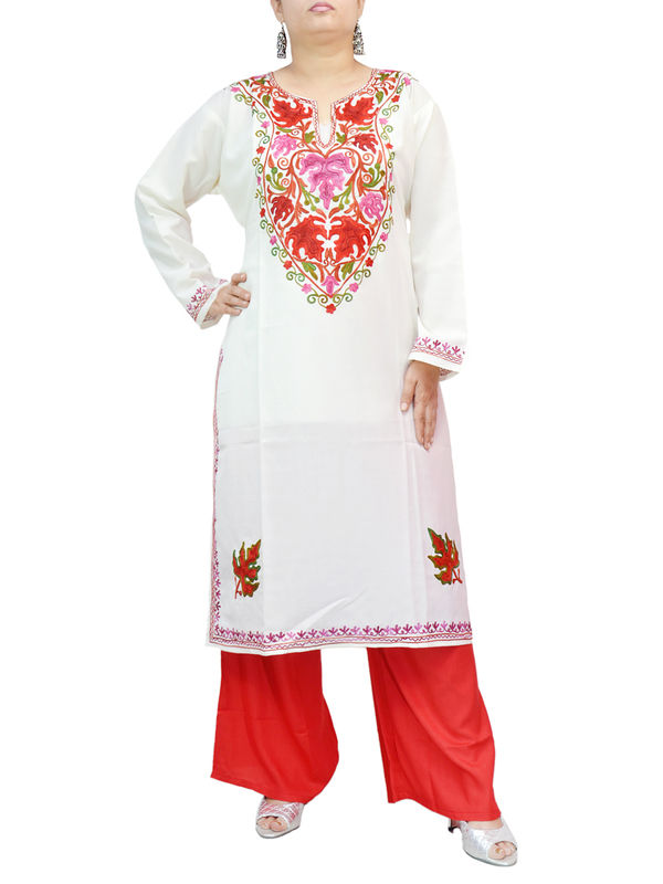 Kashmiri White Cotton Kurti With Traditional Red Chinar Embroidery