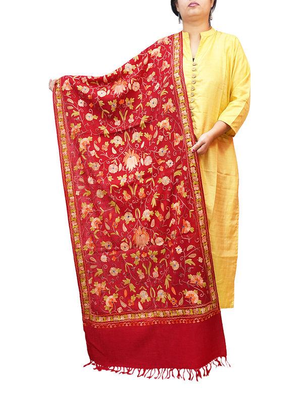 Kashmiri Maroon Floral Aari Work Emberidered 100% Pure Wool Stole