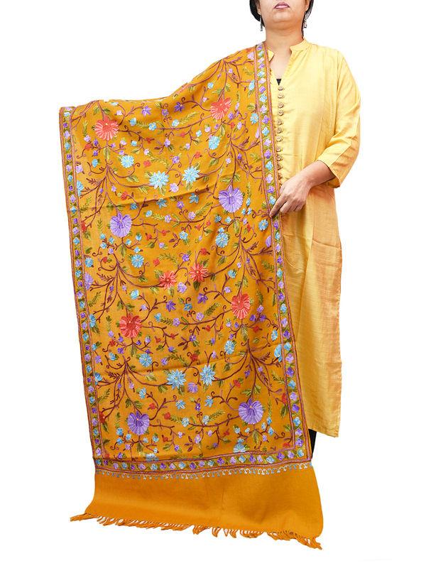 Kashmiri Mustard Floral Aari Work Emberidered 100% Pure Wool Stole