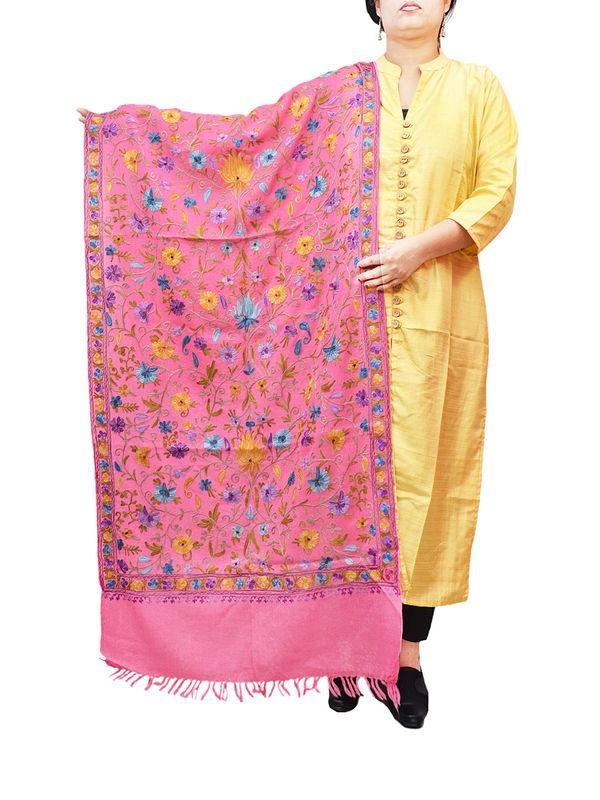 Kashmiri Pink Floral Aari Work Emberidered 100% Pure Wool Stole