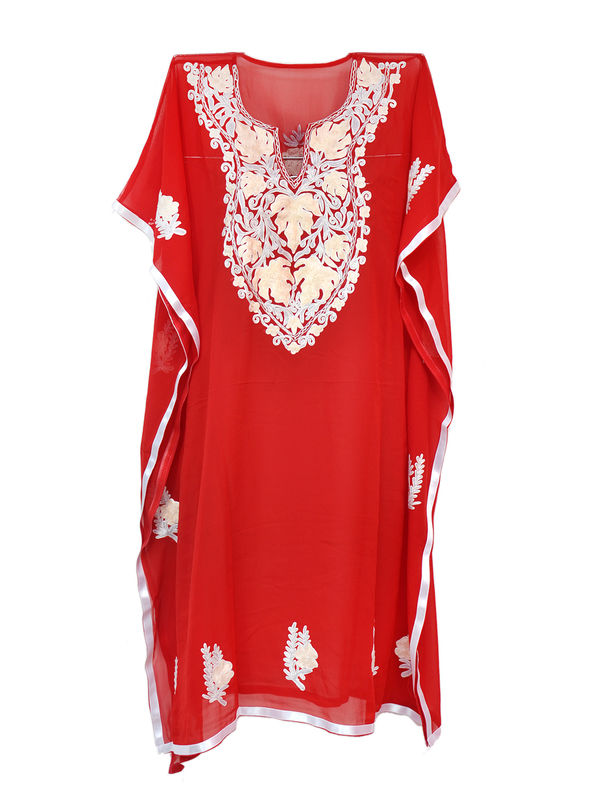 Kashmiri Red Embroidered Georgette Kaftan