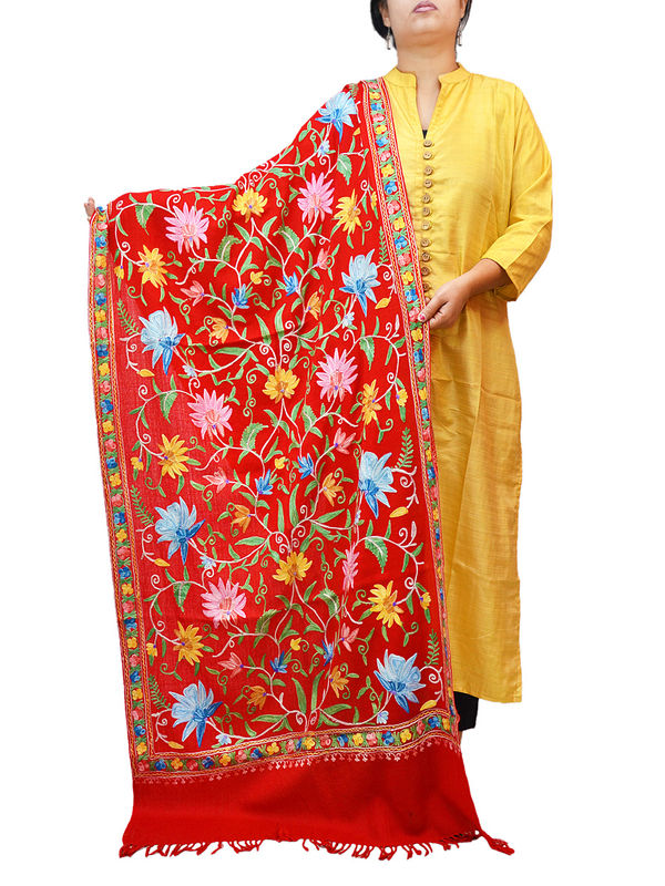 Kashmiri  Red Floral Aari Work Emberidered 100% Pure Wool Stole
