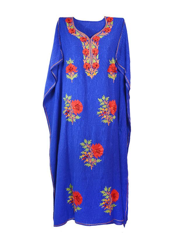 Kashmiri Royal Blue Embroidered Cheese Cotton Kaftan