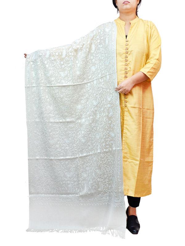 Kashmiri White Floral Aari Work Emberidered 100% Pure Wool Stole
