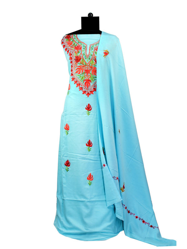 Light Blue Kashmiri Aari Work Pure Cotton Suit With Dupatta