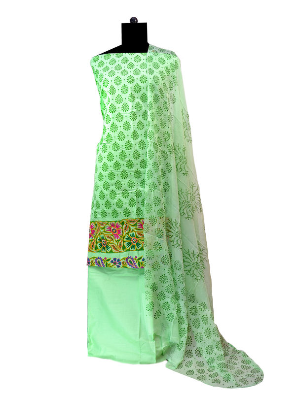 Light Green Embroidered Cotton Suit With Pure Chiffon Dupatta