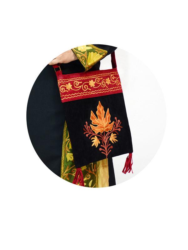 Buy kashmiri red black embroidered suede sling bag online
