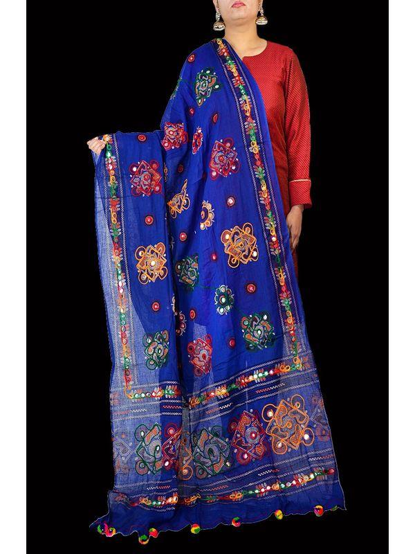 Aariwork Cotton Kutchi Mirror work Blue Dupatta