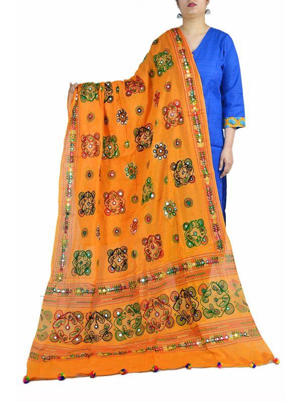 Aariwork Cotton Kutchi Mirror Work Orange Dupatta