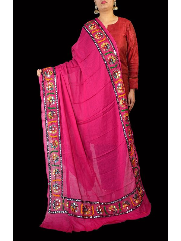Aariwork Cotton Kutchi Mirror Work Pink Dupatta