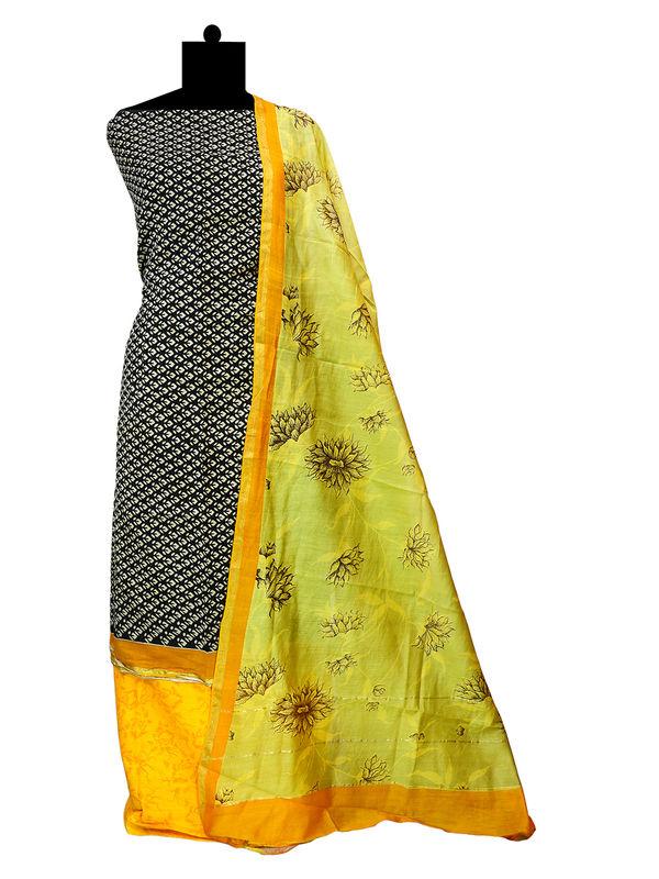 Maheshwari Cotton  Black Olive Green Suit  With Maeshwari Dupatta