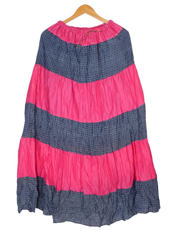 Magenta Grey Printed Cotton Long Skirt
