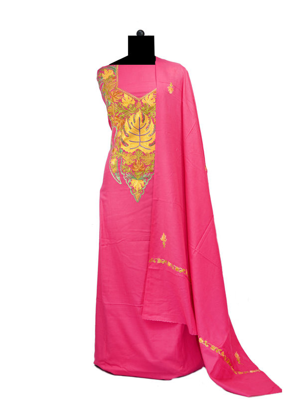 Magenta Kashmiri Aari Work Pure Cotton Suit With Dupatta