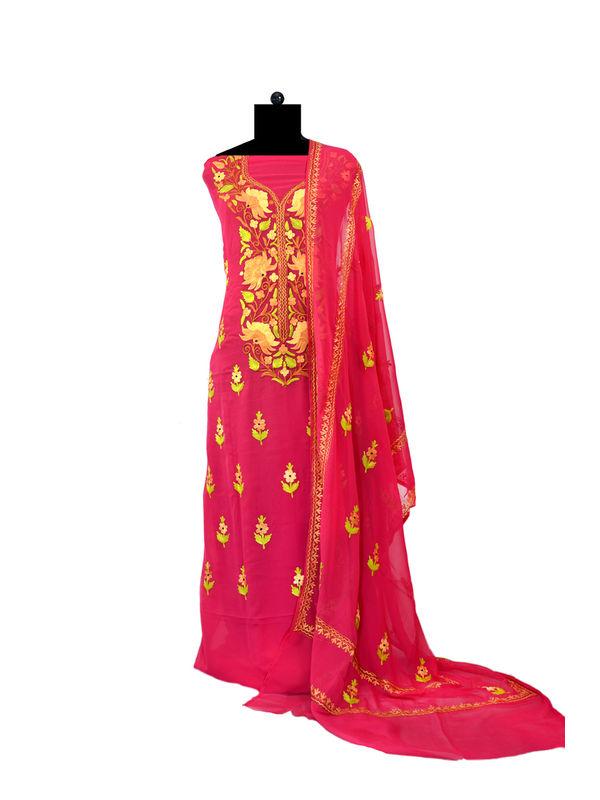 Magenta Kashmiri Aari Work Pure Georgette Suit With Dupatta