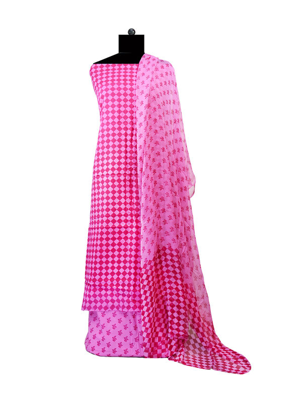 Magenta Pink Printed Cotton Suit With Pure Chiffon Dupatta