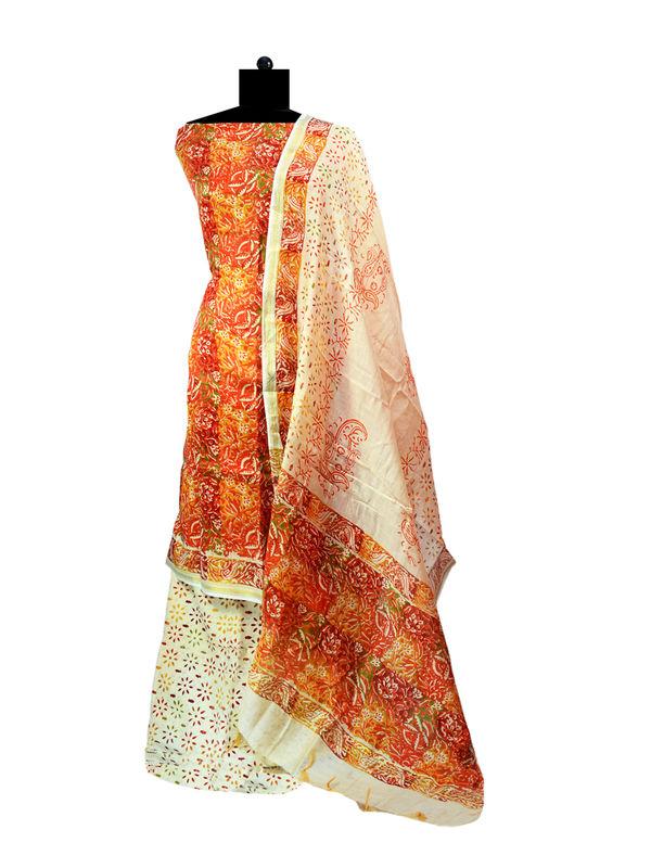Maheshwari Orange Printed Cotton Suit With Maheshwari Dupatta