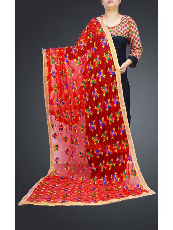 Maroon Multi Embroidered Phulkari Dupatta