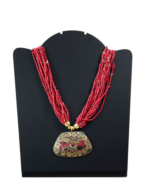 Multi-Colored  Pearled Ethnic Necklace With Aged Pendant