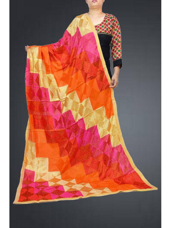 Multi Color Embroidered Phulkari Chiffon Dupatta