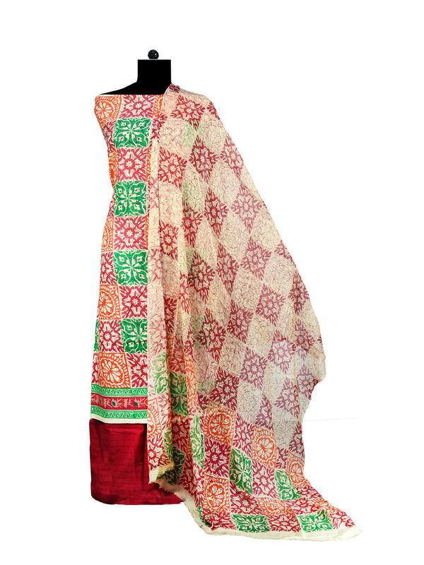 Multi Colored Printed Cotton Suit with Pure Chiffon Dupatta
