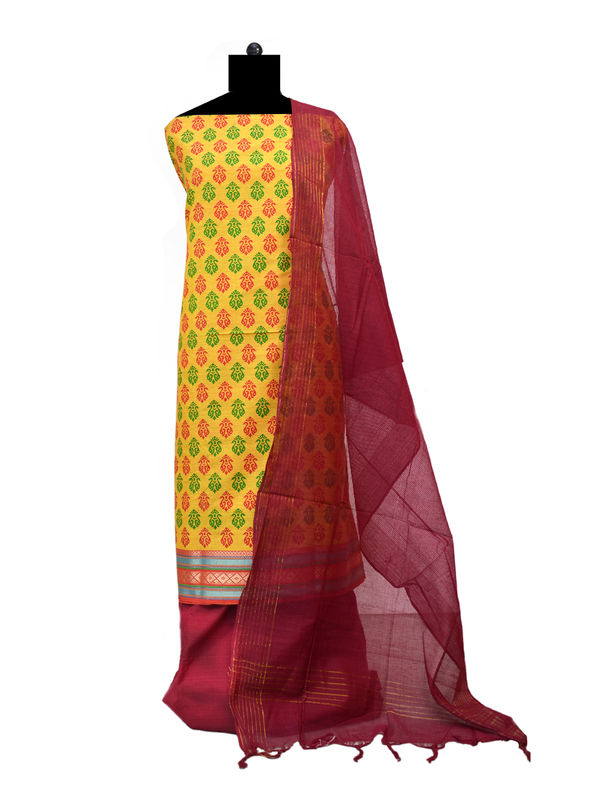 Mustard Maroon South Cotton Printed Suit With Cotton Dupatta