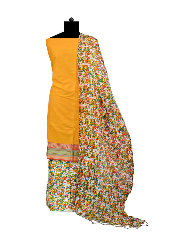Mustard South Cotton Printed Suit With Floral Cotton Dupatta