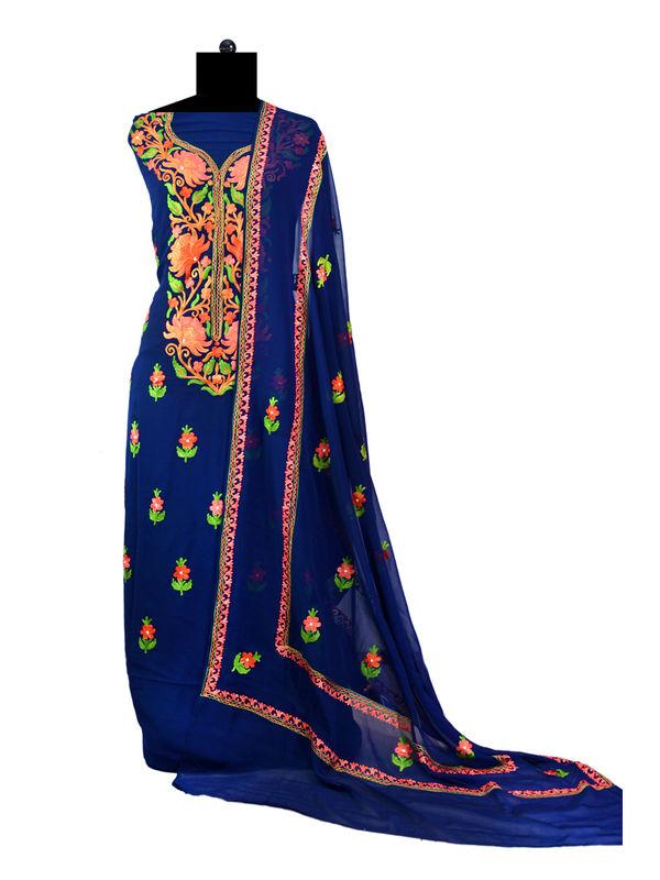 Navy Blue Kashmiri Aari Work Pure Georgette Suit With Dupatta