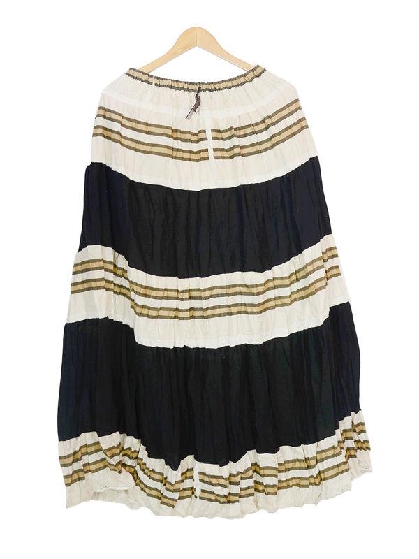 Off White Heavy Cotton Long Skirt